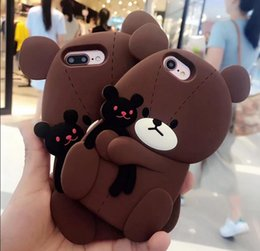 Wholesale Silicone Case Teddy - New toy 3D Cute Teddy Bear Cub Hug soft Silicone phone case cover for iPhone X 7 8 plus 6s 6Plus goophone i7