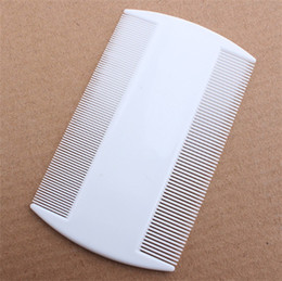 Wholesale Pet Fleas - White Durable Double Sided Nit Combs for Head Lice Detection Comb Kids Pet Flea Cat Kitten Dog Comb Multifunction Grooming Tool