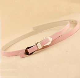 Wholesale Women Belts Vintage - Womens Vintage Skinny Leather Belt Candy Synthetic Leather Women Alloy Butterfly Buckle Waist Belt Waistband Pin Buckle Simple Belts