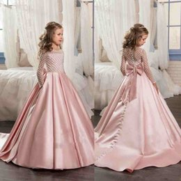 Wholesale Crystal Sequin Communion Dresses - Long Sleeve Crystal Flower Girls Dresses For Weddings Ball Gown Beaded Sequins Sweep Train Cheap Pink blush Girl Communion Dress