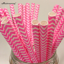 Wholesale 25 Birthday Cake - Wholesale-25 Hot Pink Chevron Paper Straws Hot Pink Zig Zag Straw Birthday Decorations Cake Pops Baby Girl Shower Decoration Pastel Pink