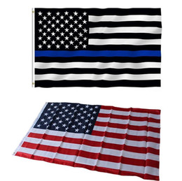 Wholesale Nylon Line Red - DHL Free high quality Blue Line 90x150cm USA Flags 3 By 5 Foot Thin Red Line US Flag Black White And Blue American Flag With Brass Grommets