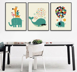 Wholesale Kids Animal Canvas Art - Canvas Painting Nordic Watercolor Cartoon Animals Whale Elephant Wall Art Painting Canvas Poster Prints Wall Pictures Kids Room Home Decor