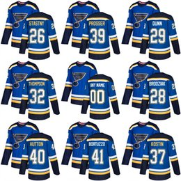 Wholesale Paul Stastny - 2018 new St. Louis Blues 26 Paul Stastny 28 Kyle Brodziak 29 Vince Dunn 32 Tage Thompson Ice Hockey Jersey Blue stitched