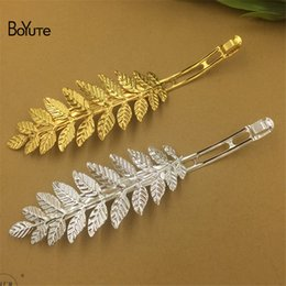 Wholesale Gold Plated Parts - BoYuTe 10Pcs 12CM Leaf Hair Clip Pin Metal Iron Diy Hand Made Hair Jewelry Accessories Parts