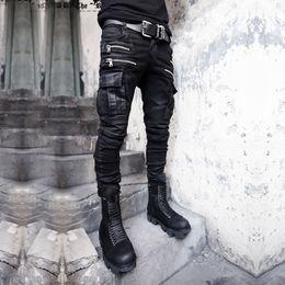 Wholesale Mens Punk Trousers - Punk Mens Chic Gothic Hair Stylist Hip Hop Pants Long Casual Nightclub Trousers Fit Slim Boots S-3XL Stretch Black