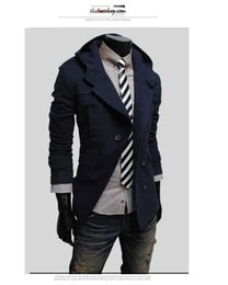 Wholesale Mens Navy Trench Coats - Wholesale- Fall-Mens Hooded Trench Coats Double Breasted Korean Men Coat Jacket Hoodies Beige Navy Black Fashion Casual Trenchcoat Men