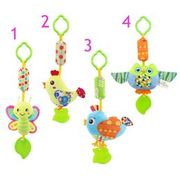 Wholesale owl toys - Infant Wind Chimes Plush Toys Hanging Newborn Crib Car Lathe Butterfly Bird Chicks Owl Animal Baby Bed Rattles Bell Toy