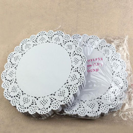 Wholesale White Paper Doilies - 7.5 inch Cake Paper Doyleys Placemat Oil-absorbing Sheet Paper Doily Bakery Package Decoration Party Supplies ZA3829