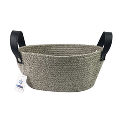 Wholesale Nursery Leather - Oral Natural Cotton Rope Storage Basket for Baby Storage and Toy Organizer, Nursery Baskets with PU leather handles ( Coffee) 10.2''*3.9''