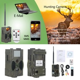 Wholesale Ir Game Cameras - HC-300M Trail Hunting Camera Photo Trap MMS SMS GSM GPRS 12MP HD Wild Camouflage Vedio Game Cameras with 36 Pcs IR LEDs