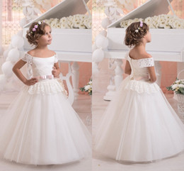 Wholesale Tulle For Sale Cheap - Wedding Flower Girl Dress 2017 Hot Sale Ivory Off the shoulder Short Sleeves Ball Gown First Communion for Pageant Gowns Custom Made Cheap