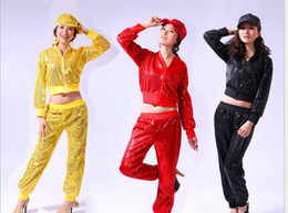 Wholesale Dance Costumes Jacket - hip-hop Big Girls boys adult women man Hiphop Jazz Perform Costume Sequins Short Tops Blouse Jacket +Modern Dance Pants Trouse 5COLORS
