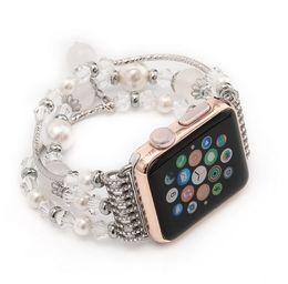 Wholesale Italian White Crystal - Handmade Elastic Luxury Crystal agate Bracelet for apple watch 38MM and 42MM,Luxury Diamond Watch Band