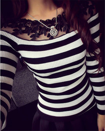 Wholesale Womens Long Sleeve Stitching Blouse - Wholesale- New 2016 Spring Womens Sweater Pullover Long Sleeve Bottom Shirts Lace Floral Stitch Striped Blouse Tops Casual Knitwear W260