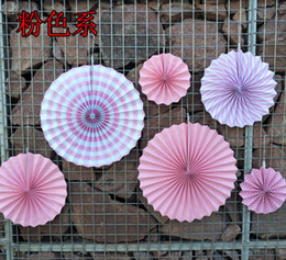 Wholesale Decorative Paper Sets - 6 set Lovely Hanging Paper Fan Pinwheel Garland Baby Birthday Shower Decoration