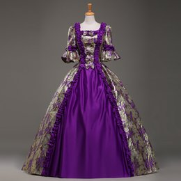 Wholesale New Southern Belle Costumes - Brand New 2016 Purple Short Sleeves European court Dresses Costumes 18th Century Southern Belle Dress For Women