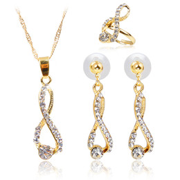 Wholesale Gold Music Note Necklace - Wedding Infinity Love Music Notes Crystal Rhinestone Necklace Earring Ring Sets Women's Jewelry Set Classics Luxury Gold Plated Accessories