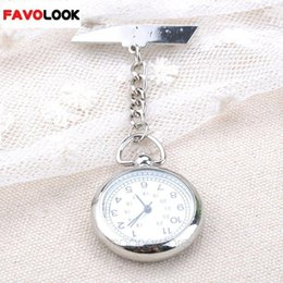 Wholesale Quartz Fob Watch - Wholesale-2016 New Style Large Face Nurse Clip Watch Medical Use Pocket Fob Brooch Quartz Watch Chain Pin Clasp Bar