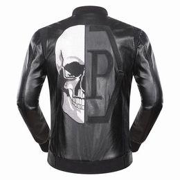 Wholesale Mens Fur Collar Jacket - 2017 Autumn Winter Stand Collar Men's Jacket Length Sleeve Leather Hoodies Embroidery Print QP Diamons Mens Zipper Outwear Jackets 9047