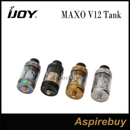 Wholesale Metal Drip Tips - iJoy MAXO V12 Tank 5.6ML Capacity Unique V12 Twelvefold Coil Atomizer System 3 Post V12-RT6 Deck Delrin Wide Bore Drip Tip 100% Original