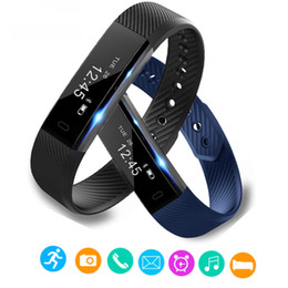 Wholesale Wholesale Clocks Counters - ID115 Smart Bracelet Fitness Tracker Step Counter Fitness Band Alarm Clock Vibration Wristband For Iphone Android PK i6 pro