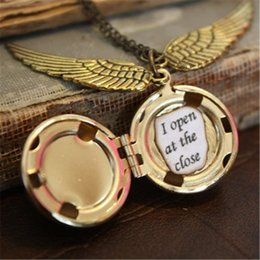 Wholesale Steampunk Locket Necklace - 12pcs lot HP Snitch Locket Ball Necklace i open at close Steampunk Locket