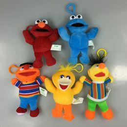 Wholesale Bert Ernie Plush - Wholesale-Sesame Street ELMO BIG BIRD COOKIE MONSTER ERNIE BERT 13cm Plush Toys Cartoon Soft Stuffed Dolls Pendant Kids Gift