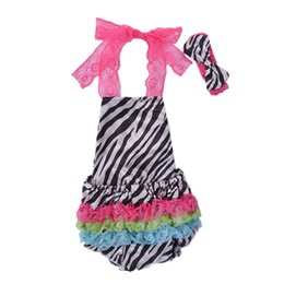 Wholesale rainbow stripe sweater - Baby Rompers Backless Stomachers Hairband for Girls Stars Rainbow Stripes Summer Baby Jumpsuits Two-piece Garment Sleeveless Sweater 0-2T
