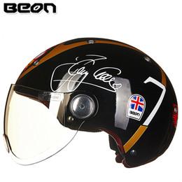 Wholesale helmet motorcycle beon - Wholesale- Motorcycle BEON Half Face Vintage Motorbike Helmet Open Face Helmet Electrombile harley capacete casco helmets M L XL
