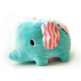 Wholesale Tissue Box Cartoon - Wholesale- Cute Cartoon Elephant Tissue Box Plush Seat Type Tissue Case For Car Good Use for Soft Removable Tissue