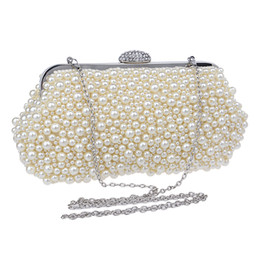Wholesale Shell Wedding Bag - Wholesale-Full beaded women vintage evening bags imitation pearl shell shaped women bag shoulder bags,diamonds clutch bag for wedding