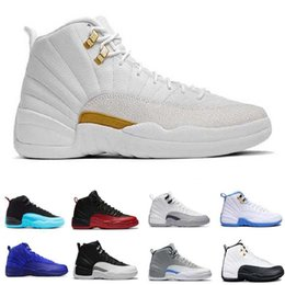 Wholesale Cheap Christmas Boxes - [With Box] cheap 2018 New air 12 XII basketball shoes ovo white Flu Game wolf Gym red taxi gamma french blue sneaker