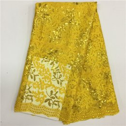Wholesale Wholesale French Beds - 2017 High Quality African Lace Fabric Gold , Royal Blue French Net Embroidery Sequins Tulle Lace Fabric For Nigerian party Dress