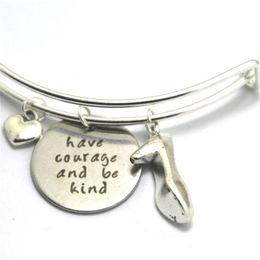 Wholesale Shoe Inspired - 12pcs Have courage and be kind bracelets Princess high heeled shoe Inspired charm bracelets bangles silver tone