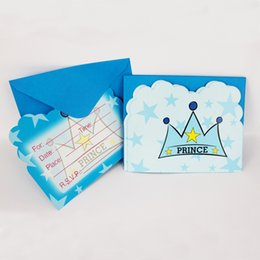 Wholesale Birthday Boy Party Themes - Wholesale-12 People Use Prince Theme Movie Kid Boy Girl Baby Happy Birthday Party Decoration Kids Supplies Favors Invitation Cards