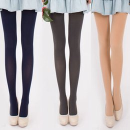 Wholesale Opaque Tights Winter - Wholesale- 1 Pcs Hot Fashion Girls Opaque 120D Velvet Footed Tights Sexy Women's Pantyhose Stockings Autumn Winter Warm Step Foot Seamless