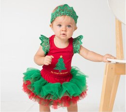 Wholesale Newborn Red Clothes - Christmas outfits baby girl sleeve-less romper lace + ruffle tutu skirts + green crown headbands boutique sets newborn clothes