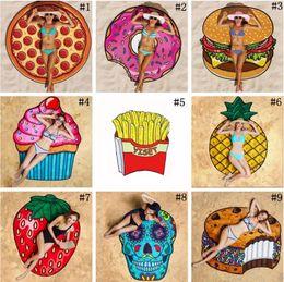 Wholesale Design Pizza - 11 Designs Round Beach Towel Pizza Hamburger Skull Ice Cream Strawberry Smiley Emoji Pineapple Watermelon Shower Towel Blanket Shawl