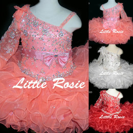 Wholesale Glitz Pageant Dress T - Bling Bling Little Rosie Baby Girls Pageant Dresses 2017 BR1323 Ruffles Skirt Coral Cupcake Glitz Toddler Pageant Gowns with One Long Sleeve