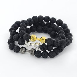 Wholesale Wholesale Black Mens Ring - Wholesale-Mens Natural Stone Dumbbell Beaded Bracelets Unisex Black Lava Stone Beads Fitness Fit Life Prayer Bracelets Barbell Jewelry