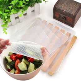 Wholesale Plastic Food Wrap Film - 4pcs Reusable Silicone Storage Food Wrapper Containers Seal Cover Stretch Cling Wrap Preservative Film Kitchen Tools L 2M S
