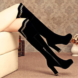 Wholesale Thick Heel Knee Boots - New Female sexy thick heel Boots Knee-high Boots High Heel Jackboots