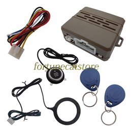 Wholesale Rfid Car Alarm Keyless - Universal RFID Car Engine Push Start Module Mini Unit with Push Button Start & 2 Transponder Immobilizers Keyless Go