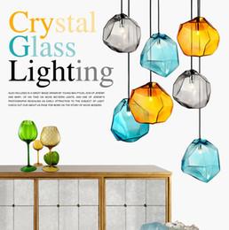 Wholesale Art Glass Hanging Lamp - Modern Colorful Glass Pendant Light Special Glass Stone Chandelier Hanging Lamp G9 Led Suspension Lamp for Bar Restaurant Indoor Light