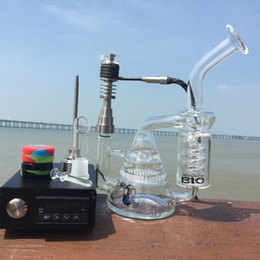 Wholesale Dhl Free E Pipe - DHL E Digital Nail D digital Nail kit with Bio Glass Bong Honeycomb Recycler Bongs Water Pipe heating Quartz Hybird Titanium Nail