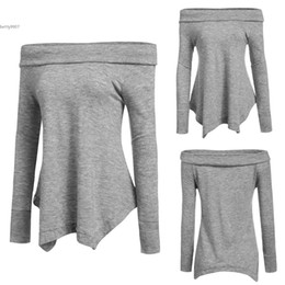 Wholesale Sexy Womens Tshirts - off shoulder womens tops Sexy 2016 Women Long Sleeve Loose Plus Size Irregular Hem Solid Tunic tshirts Casual Clubwear Spring Autumn