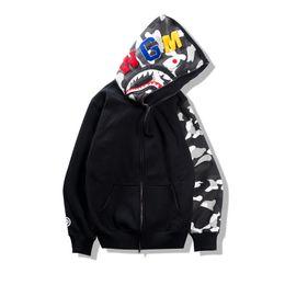 Wholesale Men Winter Cardigans - 2017 Autumn Winter Tide Brand Teenager Hip Hop Shark Print Camo Hoodie Loves Night Camouflage Cotton Zipper Sweatshirt Jacket
