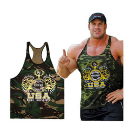 Wholesale Bear Sexy Top - Wholesale- 2017 New clothing Singlets Camouflage Tank Tops Shirt Bodybuilding Equipment Fitness Men's Golds T-shirt Stringer WAIBO BEAR