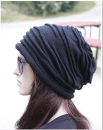 Wholesale Wholesale Mens Winter Beanies - Wholesale - - Fashion Beanie Skull Caps Mens Womens Spring & Fall Winter Wool 3Colors Knitted Ruffle Layers Plain Hats Caps